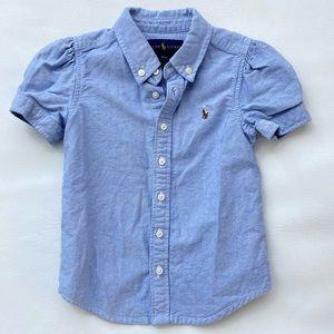 EUC Ralph Lauren Button Up Short Sleeve Top 3T